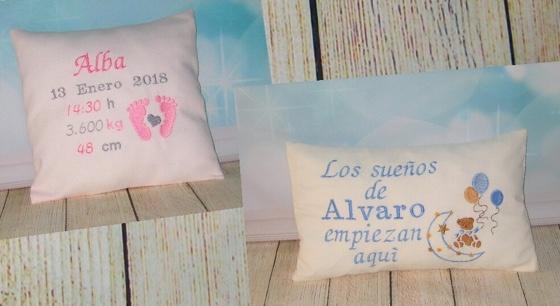 Cojines personalizados bordados para bebes en Valencia