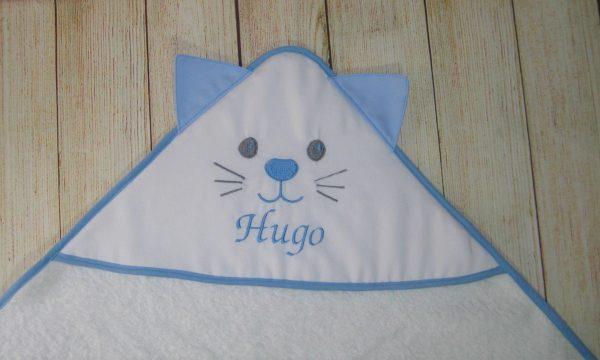 Toalla de bebé capucha con orejas gatito MISSY celeste