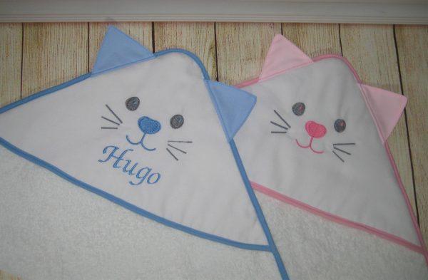 Toalla bebe capucha con orejas y cara de gatito MISSY