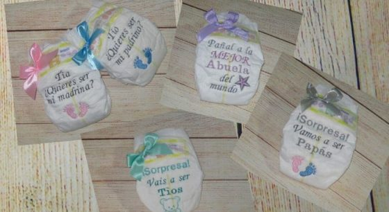 Pañales personalizados bordados regalo