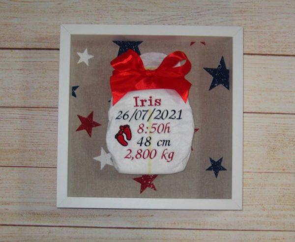 Cuadros natalicios con pañal bordado personalizado