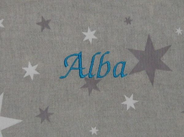 Colorido Estrellas gris bordado turquesa